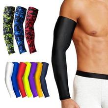 1Pcs Atmungsaktiv Schnell Trocknend UV Schutz Arm Ärmeln Ellenbogen Basketball Pad Fitness Armschützer Sport Radfahren Arm Wärmer