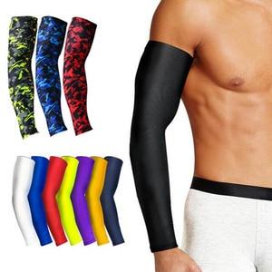 Image 1 - 1Pcs Breathable Quick DRY UV Protectionแขนแขนข้อศอกPadฟิตเนสArmguardsกีฬาขี่จักรยานอุ่น