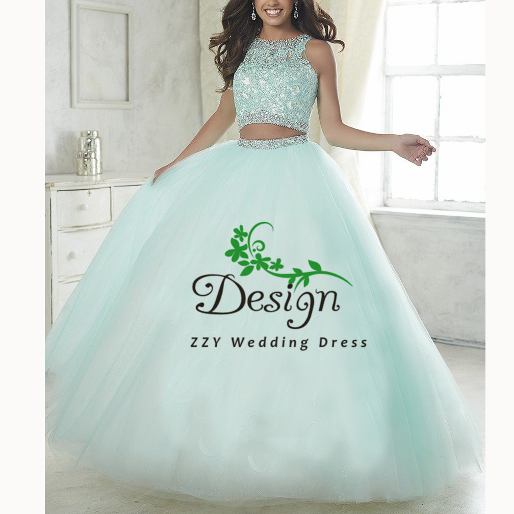 Green Two Pieces Lace And Tulle Scoop Tulle Mother Of The Bride Dresses For Weddings Beading Crystals Full-Length Sweet 16 Dress