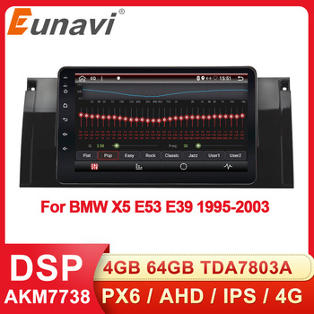Eunavi 2din Android 9.0 Car Radio For BMW X5 E53 E39 1995-2003 GPS stereo navigation multimedia touch screen head unit IPS Audio image