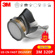 3M 320P Dust Mask + 3701CN Filter cotton Half Face Dust proof Mask Anti Industrial Construction Dust Haze Fog Safety Gas Mask