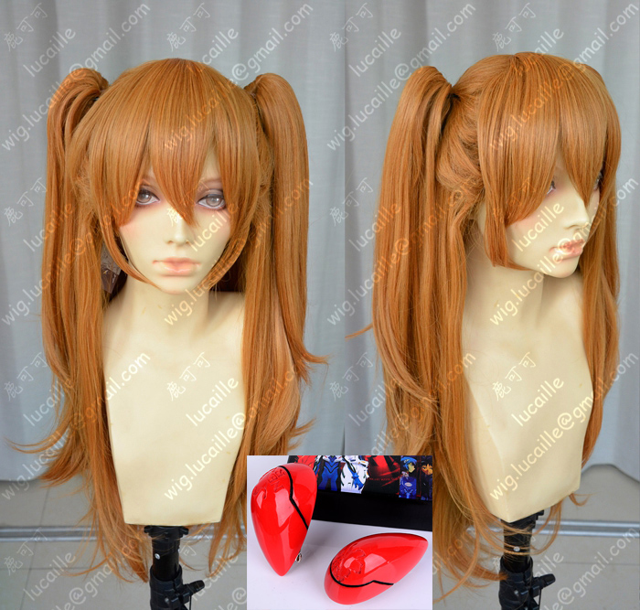 Anime EVA Asuka Langley Soryu Long Orange With 2 Ponytail Clips Heat Resistant Hair Cosplay Costume Wig + Headwear Haripin