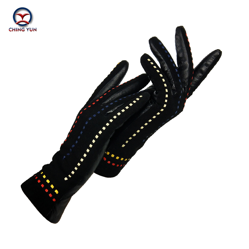 CHING YUN Warm Ladies Gloves Suede Stitching Personality Line Genuine Gloves Decoration Winter 2019 New Sheepskin Maiden Mittens