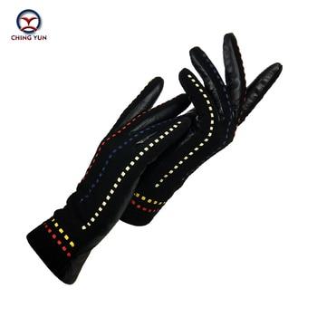CHING YUN warm ladies gloves suede stitching personality line genuine decoration winter 2019 new sheepskin maiden mittens
