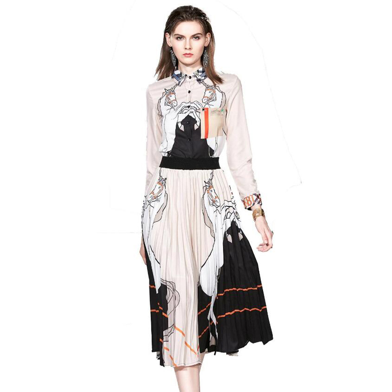 Western National Summer Turn-down Collar Print Long Sleeve Shirt Pleated Skirt Chiffon Women Suit Dress