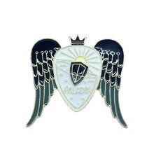 Paladin Shield Metal Enamel Brooch Black Wings Crown Sun Badge Pin Creative Trendy Warrior Costume Jewelry Accessories Gift(China)