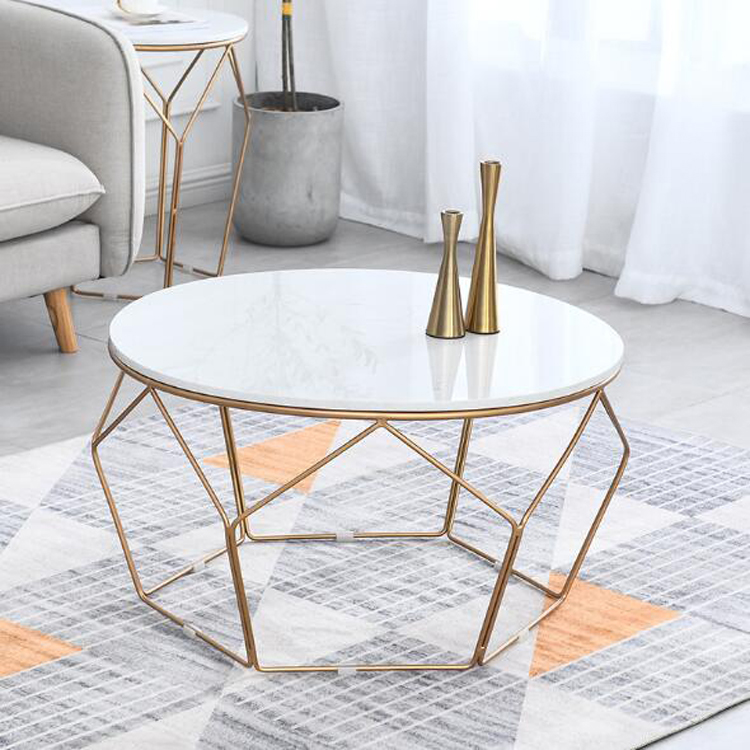 Marble Coffee Table Simple Home Living Room Sofa Side Small Round Table Center Table Diameter 60cm 80cm Black Golden Frame