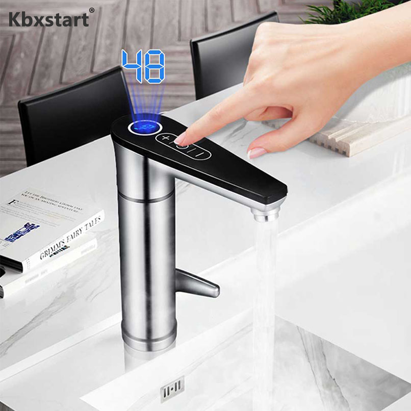 Instant Water Heater No Water Tank Electric Faucet Touch Bathroom Kitchen Adjustable Temperature Fast Heating And EU/UK Plug220V