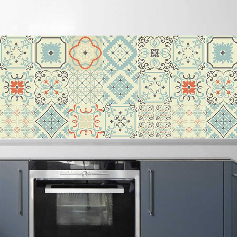 vintage moroccan style tiles stickers pvc waterproof selfadhesive wall stickers kitchen backsplash diy removable tile sticker