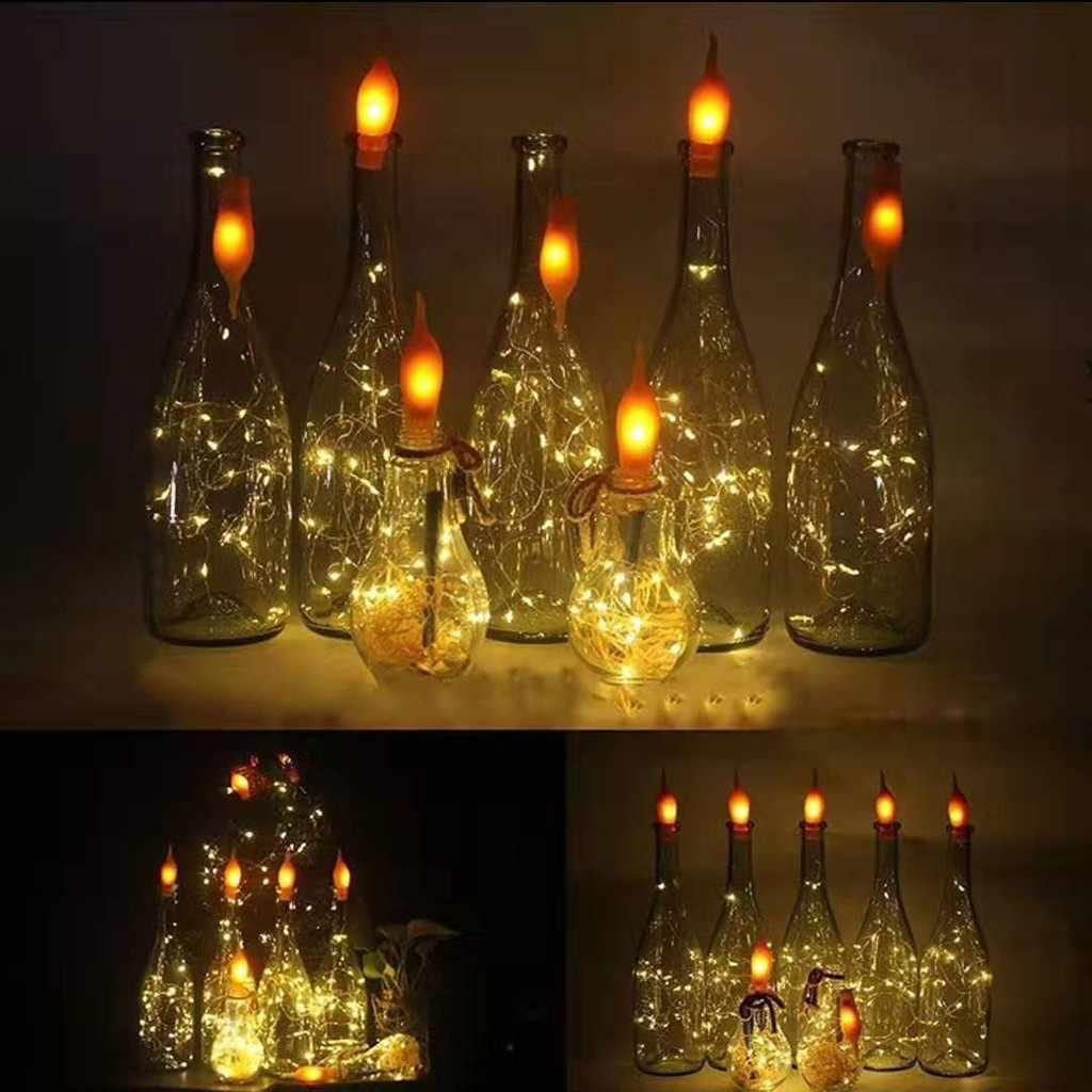2M 20 LED Botol Anggur Lampu dengan Gabus Dibangun Pada Baterai LED Cork Bentuk Perak Tembaga Kawat Berwarna-warni Peri mini String Lampu Z3