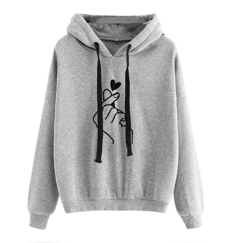 2019 Autumn Heart Print Sweatshirt With Hood 5XL Plus Size Solid Color Women's Hoodie Casual Long Sleeve Pullover Sweatshirts