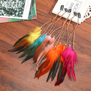 Haimeikang Bohemian Style Natural Color Feather Hairpin Hairband Colored Feathers Girls Hair Accessories 35CM Bird Hair Piece