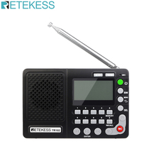 Retekess TR102 Portable Radio FM/AM/SW World Band Receiver MP3 Player REC Recorder With Sleep Timer Black FM Radio Recorder 5 pcs portable radio retekess v 117 3 band fm am sw radio battery powered emergency receiver radio station f9207a