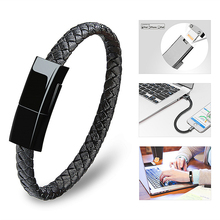 цена на USB Bracelet Charger Data Charging Cable Sync Cable Portable Leather Mini Micro for IPhone 6 6s Micro USB Type-C Phone Line
