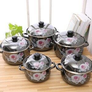 1-6 litre emaye ocak beş parça mutfak seti 5 emaye tencere pişirme emaye tencere s