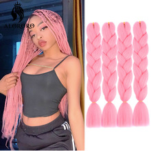 Hair Braid Hair-Extensions Synthetic-Hair Afro Pink Yellow Blue 24inch Alororo Red Ombre