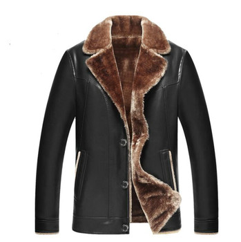 Lapel motorcycle pu leather jacket men warm plus velvet thicken clothes mens leather jackets and coats biker B410