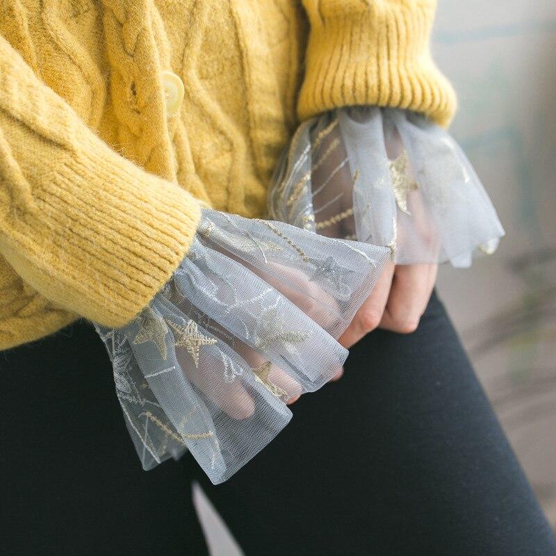 Women Embroidery Lace Cuff False Pagoda Sleeve