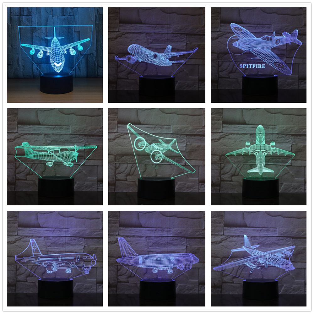 Remote Control Boeing Air Plane 7 Color Lamp 3d Visual Led Night Lights For Kids Touch Usb Table Lampe Model Airplane Aircraft