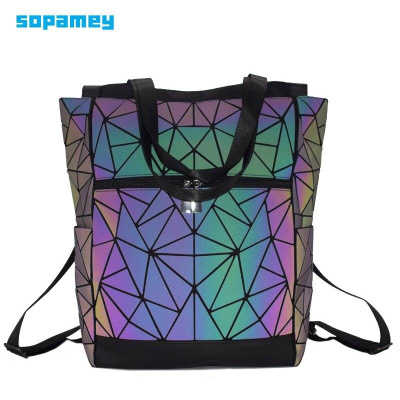 Men 15-inch Laptop Backpacks Holographic Geometric Multi-function Backpack Luminous Backpack Female School Bag Travel Daypack