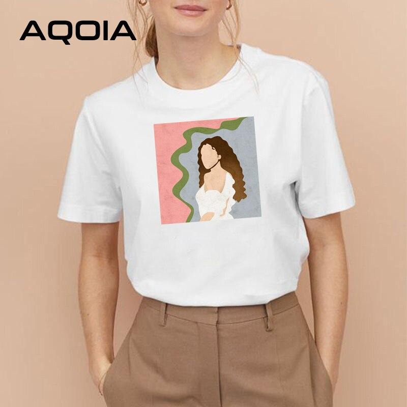 AQOIA rocznika malarstwo abstrakcyjne kobiety T Shirt krótki rękaw koreański styl wokół szyi Tee 2020 lato charakter mody dziewczyny topy