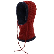Knitted Hat Korean Edition Knitted Hat in Autumn and Winter with Down and Thickened Wool Hat, Headgear and Neck Cap new men s hat in autumn and winter with warm cashmere set head cap hat riding ear muff knitted hat korean tide