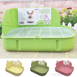 Small Pets Rabbit Toilet Square Bed Pan Potty Trainer Bedding Litter Box for Small Animals Cleaning Supplies C42(China)