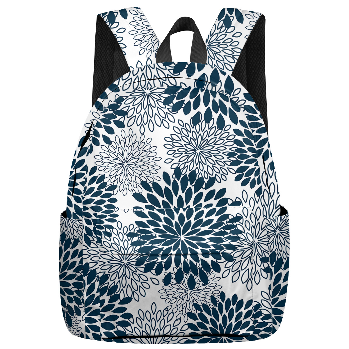 Japanese Abstract Flower Laptop Backpacks Business Daypack Water Resistant Sports Backpack Weekend Travel Knapsack Bag