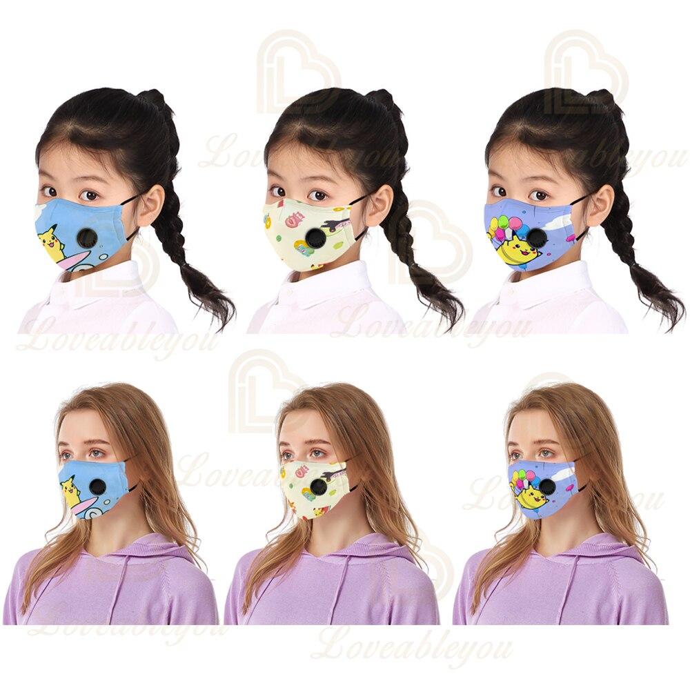 Pokemon 3Pcs Fashion Unisex Cotton Breathing Valve Mouth Mask Cloth Activated Carbon Filter Respirator For Men Women Kids