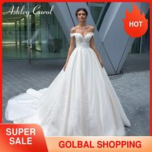 Ashley Carol Sexy Sweetheart Cap Sleeve Backless Wedding Dress 2020 New Luxury Beaded Sashes Court Train Princess Bridal Gowns