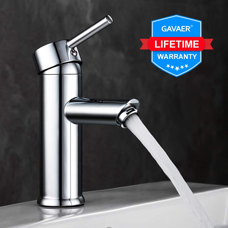 Gavaer Bathroom sink faucet Hot and cold bathroom faucet Chrome brass faucet brass sink faucet Single washbasin tap