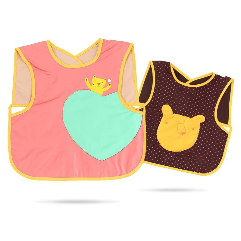 Solid Color Cartoon Infants Protective Cover Clothing Children Eating Bib Bib Waterproof Antifouling Bibs Baby Supplies
