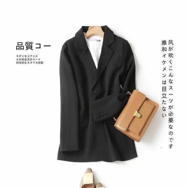 PEONFLY Women Blazer Office Jacket Ladies Fashion Single Breasted Long Sleeve Loose Coat Formal Casual For Spring Autumn 2021 6