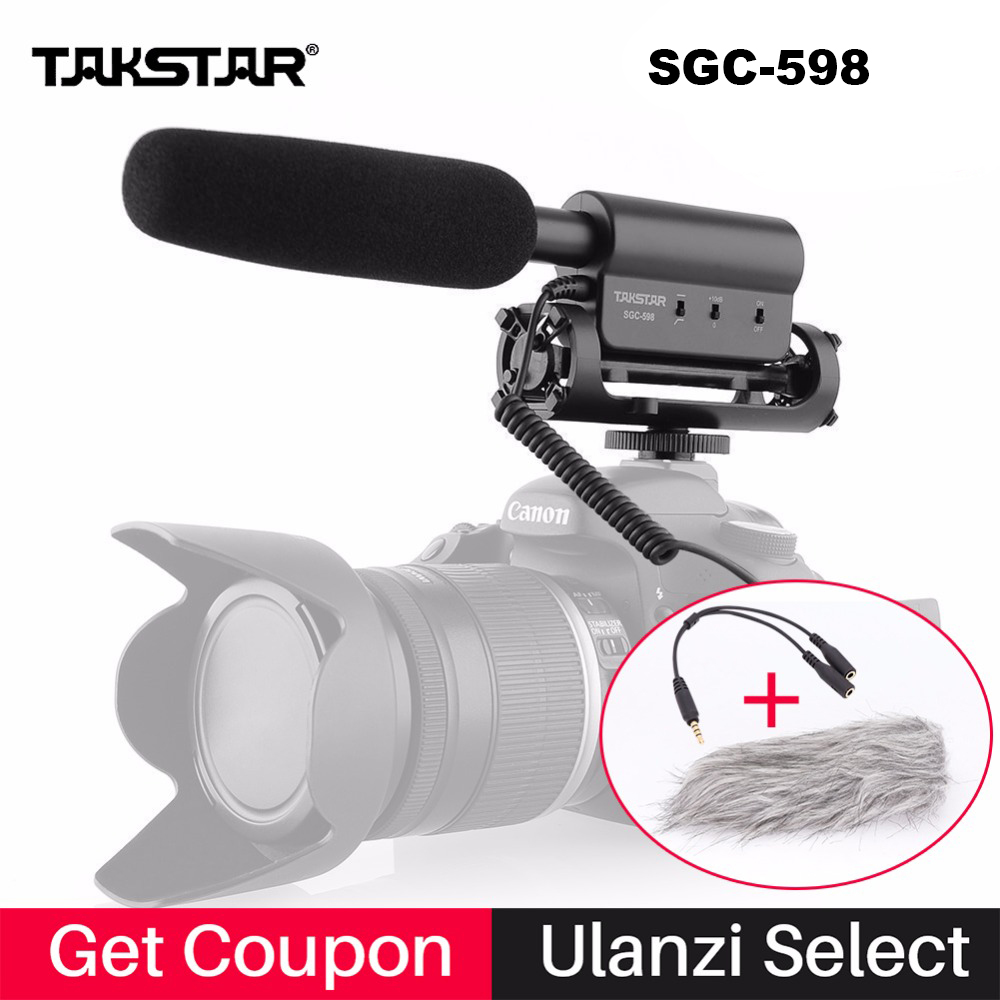 Takstar SGC-598 Condenser Video Recording Microphone for Nikon Canon Sony DSLR Camera, Vlogging Interview Microphone sgc 598 image