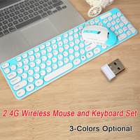 New 2.4G Wireless Keyboard Mouse Combo Round Keycap 104 key gaming keyboard Adjustable mouse for Computer android IOS PC gamers
