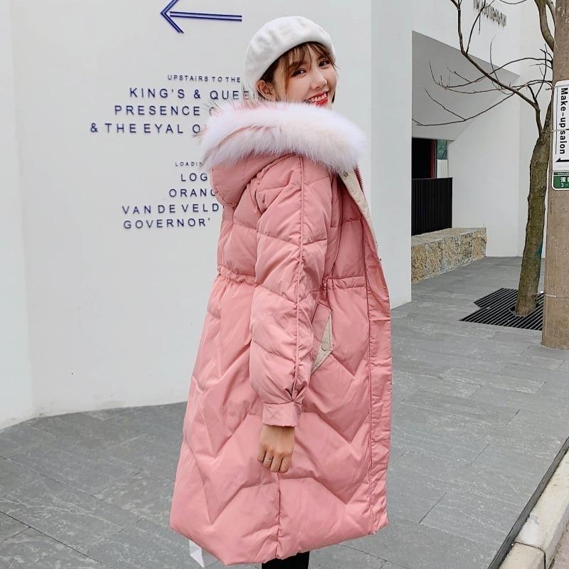 Back Season   Down   Jackets Girls Long Fund 2019 Heavy Seta Lead Self-cultivation Tide Thickening Little Chap Loose   Coat