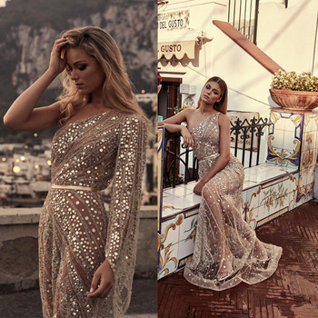 Sexy Sequined Long Dresses Evening One-Shoulder Sequined Sweep Train Mermaid Dress Women Evening Party Dresses