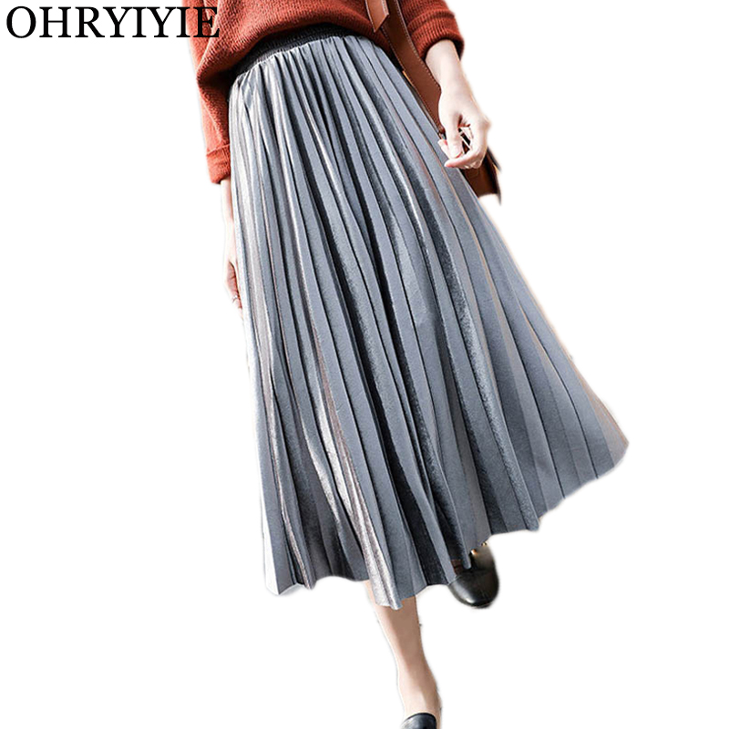 OHRYIYIE Plus Size 3XL Elegant Midi Long Pleated Skirt Women Autumn Winter Fashion Korean Ladies Velvet High Waist Skirt Female