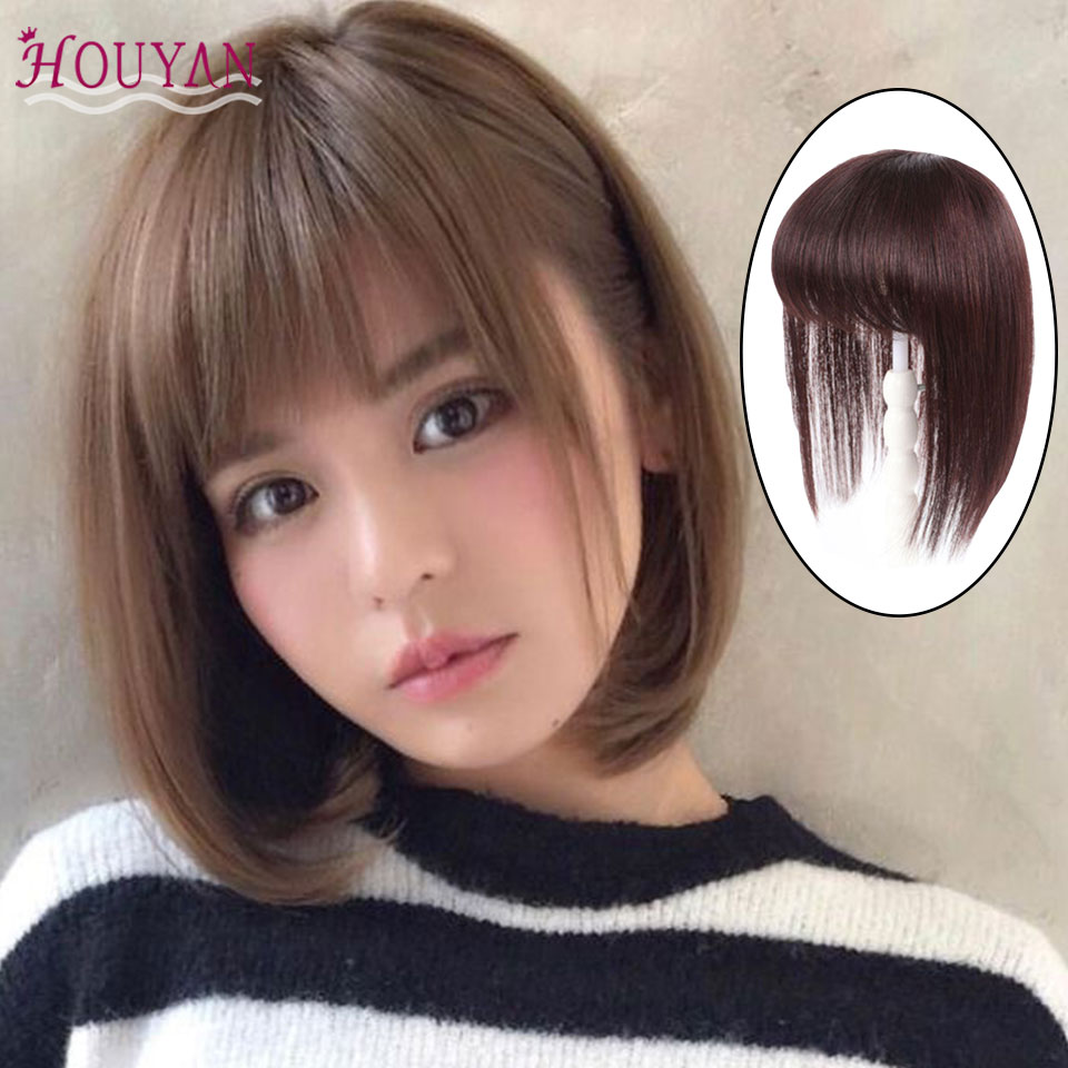 HOUYAN Black And Brown Bob Style Human Hair Hair Extension Clip In Straight Remy Natural Fringe Hair