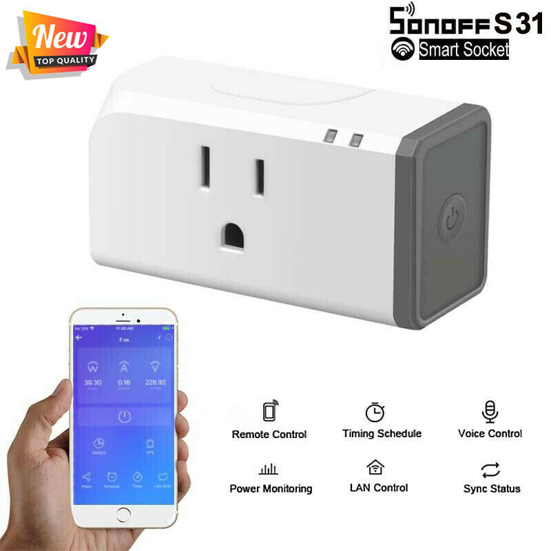 2020 HOT Sonoff S31 WiFi Timing Power Detection Smart Plug Socket Remote Control For Google Home Alexa US Plug Outlet