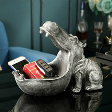 Key storage Resin Hippo Statue Hippopotamus Sculpture Figurine Key Candy Container Decoration Home Table Decoration Accessories