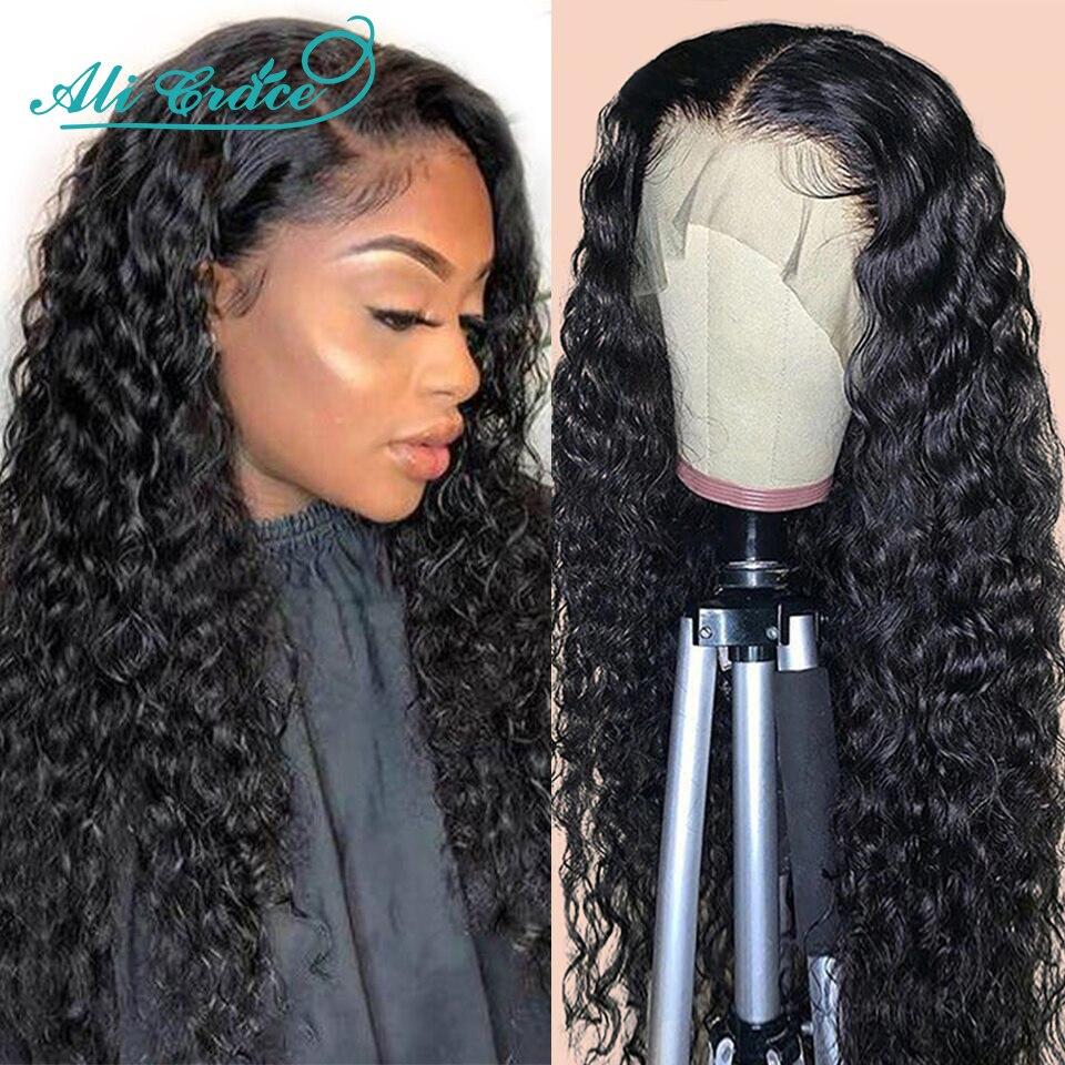 Ali Grace pelucas profundo brasileño de la onda de encaje peluca 13x5X1 parte profunda pelucas de encaje de cabello humano Pre arrancó cabello de encaje de cabello humano pelucas