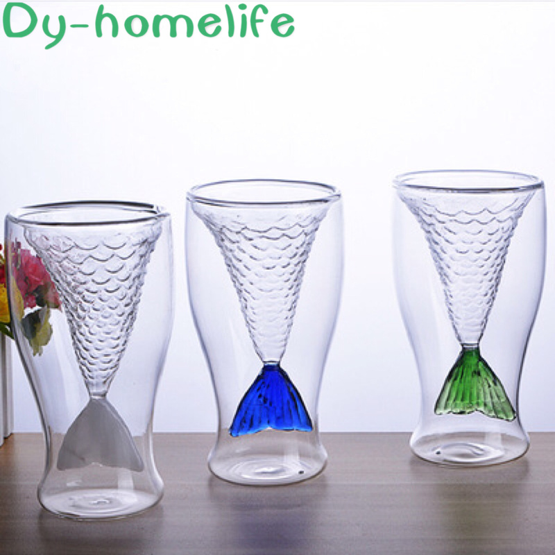 Japanese Creative Color Mermaid Double Temperature Resistant Glass Bar Home Whiskey Vodka Cocktail Glass Drinking Glass image