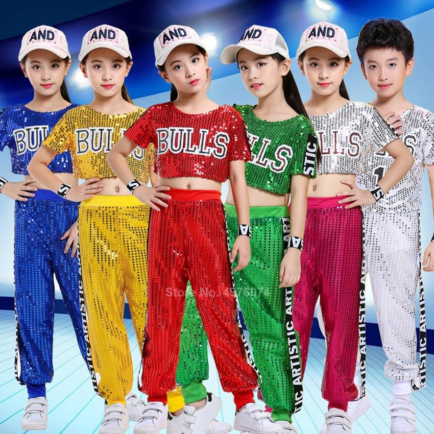 Kids Modern Jazz Dance Costume Sequin Children Hip Hop Ballroom Performance Dancing Wear Boys Fashion Streetwear Outfits