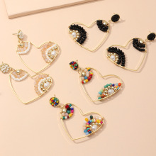 New Bohemia color rice bead earrings temperament heart earrings