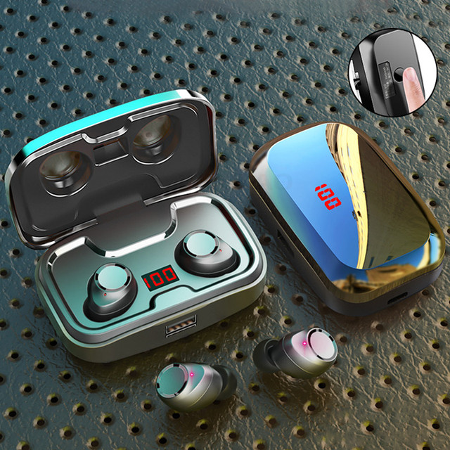 Auriculares TWS 5,0, inalámbricos por Bluetooth 9D, auriculares IPX7 impermeables deportivos con micrófono