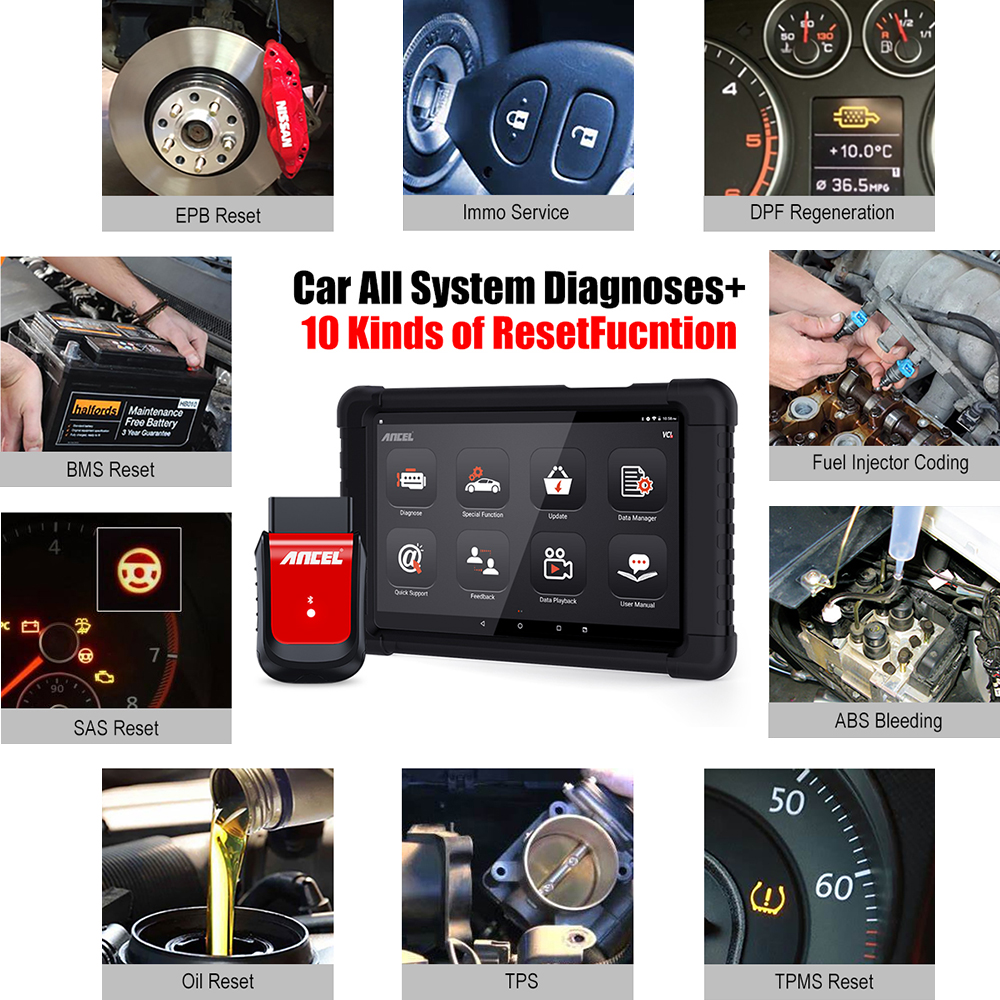 Ancel X6 OBD2 Scanner Bluetooth Scan ABS Airbag Oil EPB DPF Reset OBD 2 Automotive Scanner Ancel X6 OBD2 Scanner Bluetooth Scan ABS Airbag Oil EPB DPF Reset OBD 2 Automotive Scanner Code Reader Auto Car Diagnostic Tool