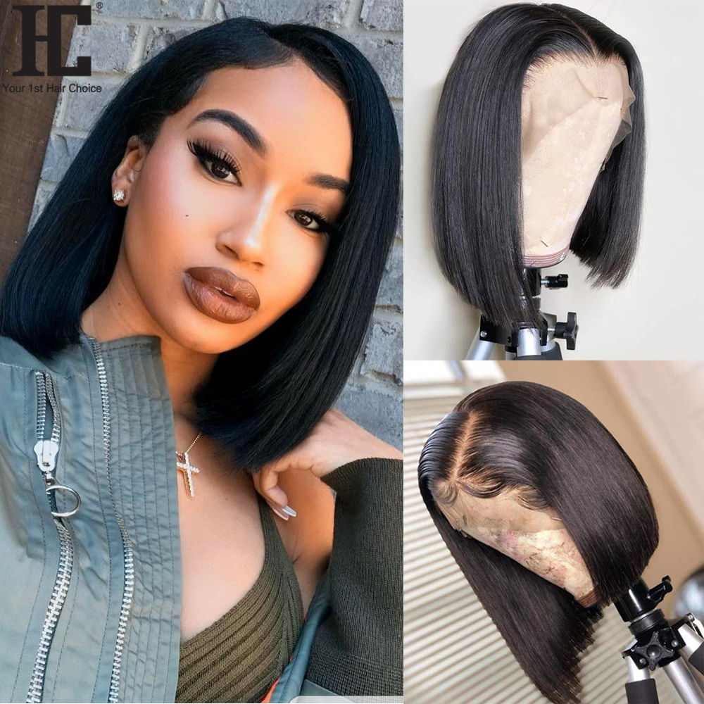 13x4 Bob Wig Short Lace Front Human Hair Wigs Brazilian Straight Bob Wigs With Baby Hair Remy Lace Front Wig Pre Plucked