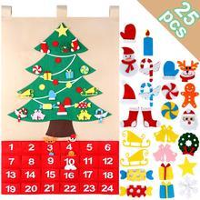 Calendar Date Christmas-Tree DIY Felt Ourwarm with Pockets New-Year Hanging-Ornaments