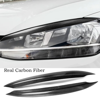 Real Carbon fiber Headlight Eyelids Eyebtrow Cover For Volkswagen VW Golf 7 Mk7 13-18